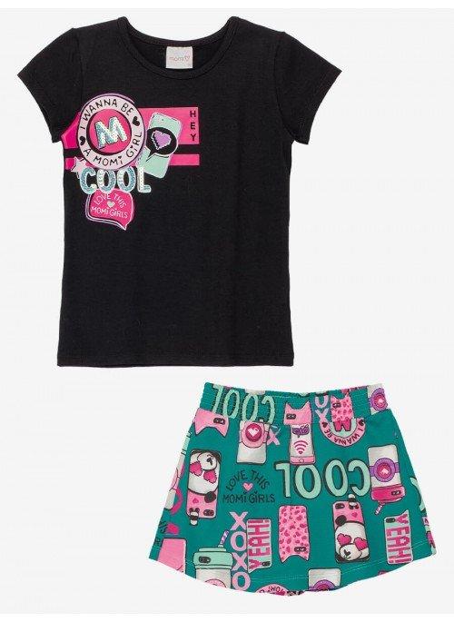 Conjunto Infantil Blusa I Wanna Be com Shorts Saia Momi