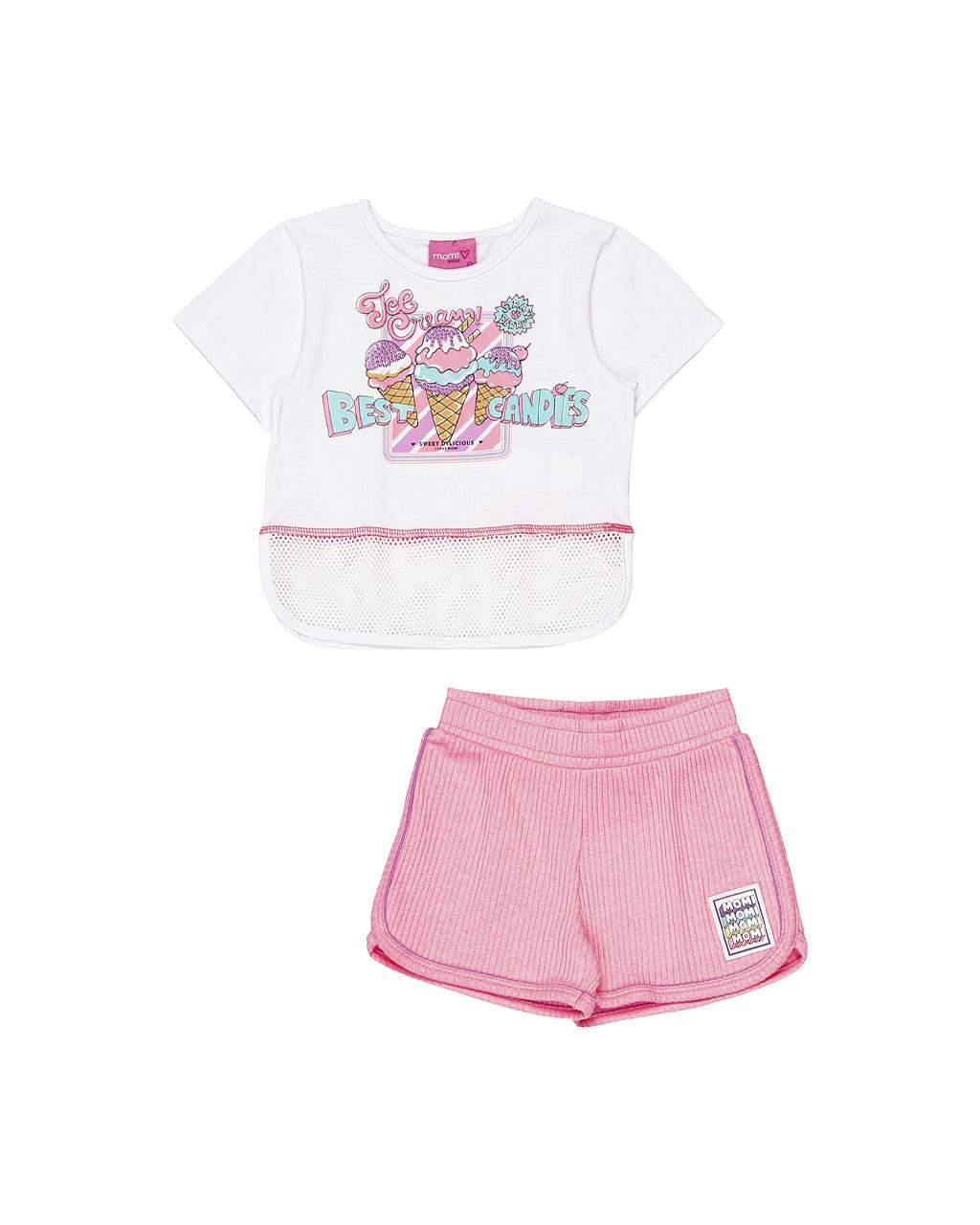 Conjunto Infantil Blusa Ice Crean e Shorts Off White Momi