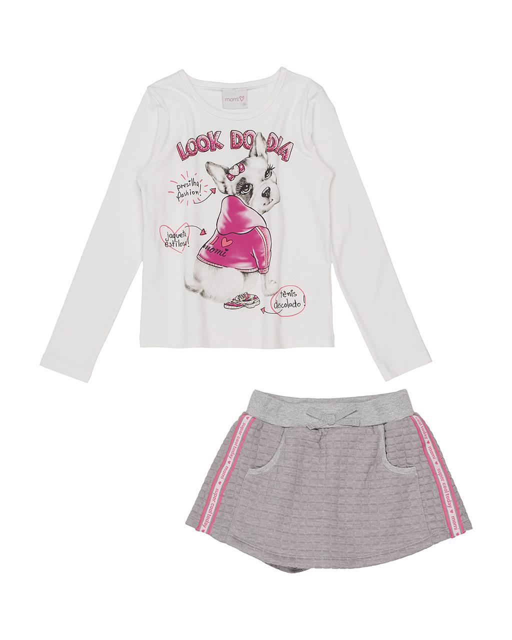 Conjunto Infantil Blusa Look Do Dia E Shorts Saia Jacquard Cinza Com Neon Momi