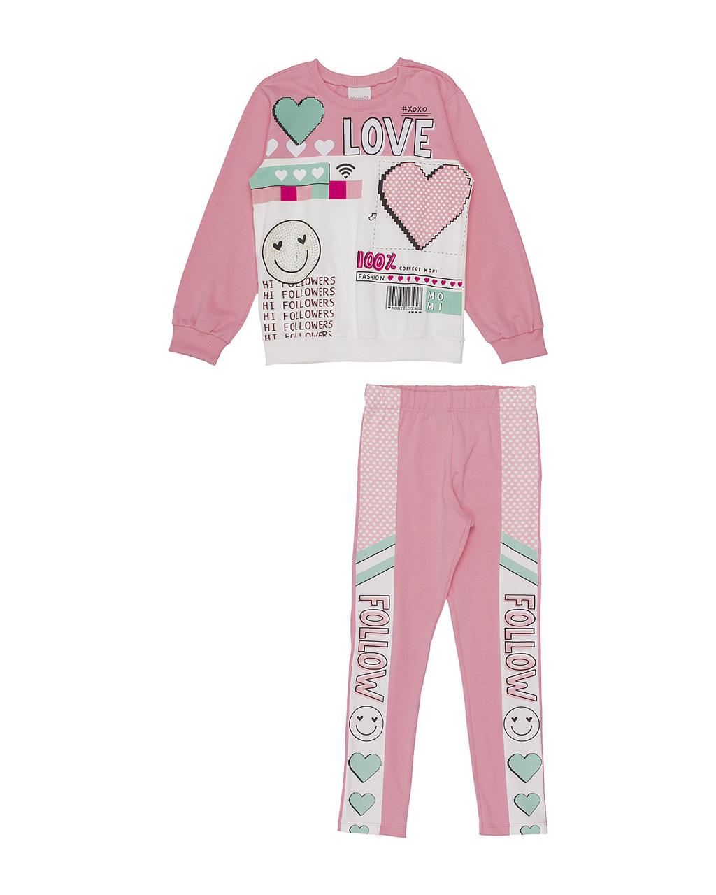 Conjunto Infantil Blusa Love e Calça Legging com Arte Rosa Momi