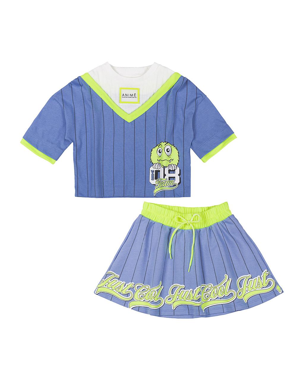 Conjunto Infantil Blusa Malha Azul Com Canelado Neon E Saia Moletom Silk Neon Animê