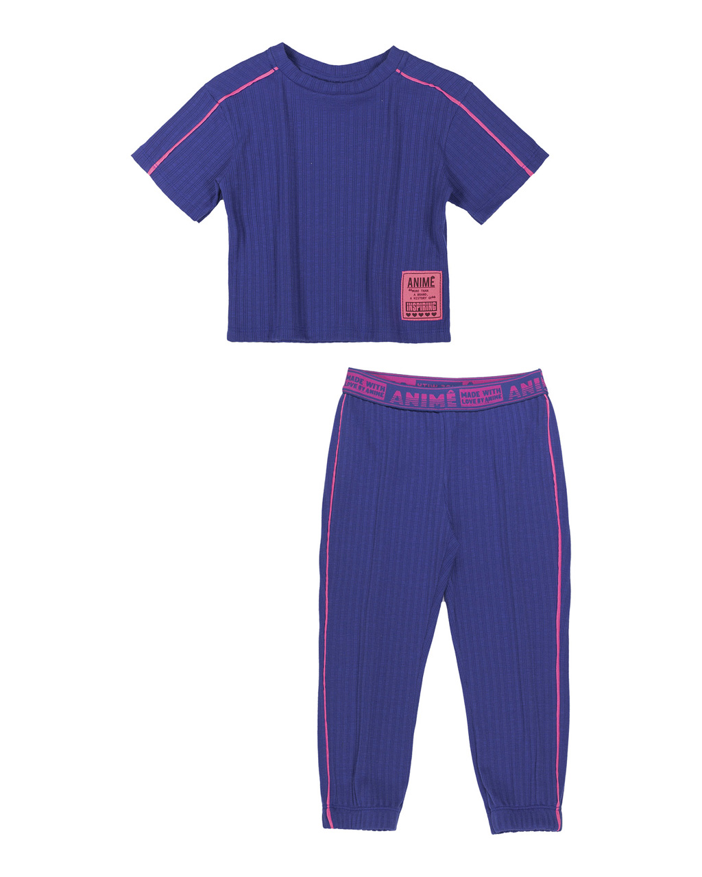 Conjunto Infantil Blusa Manga Curta e Calça Canelada Azul Royal Animê
