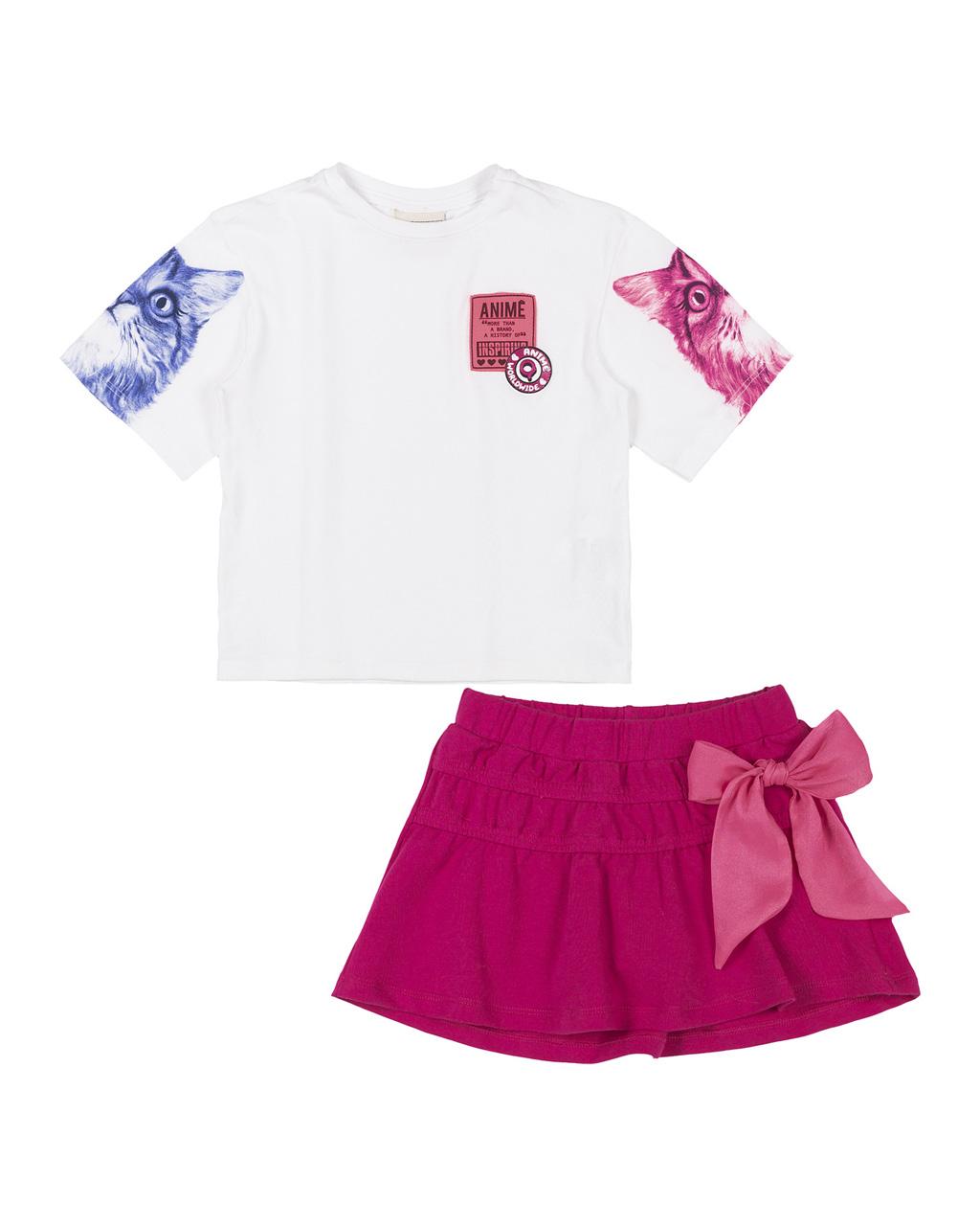 Conjunto Infantil Blusa Manga Gatinho e Saia Laço Rosa Neon Animê