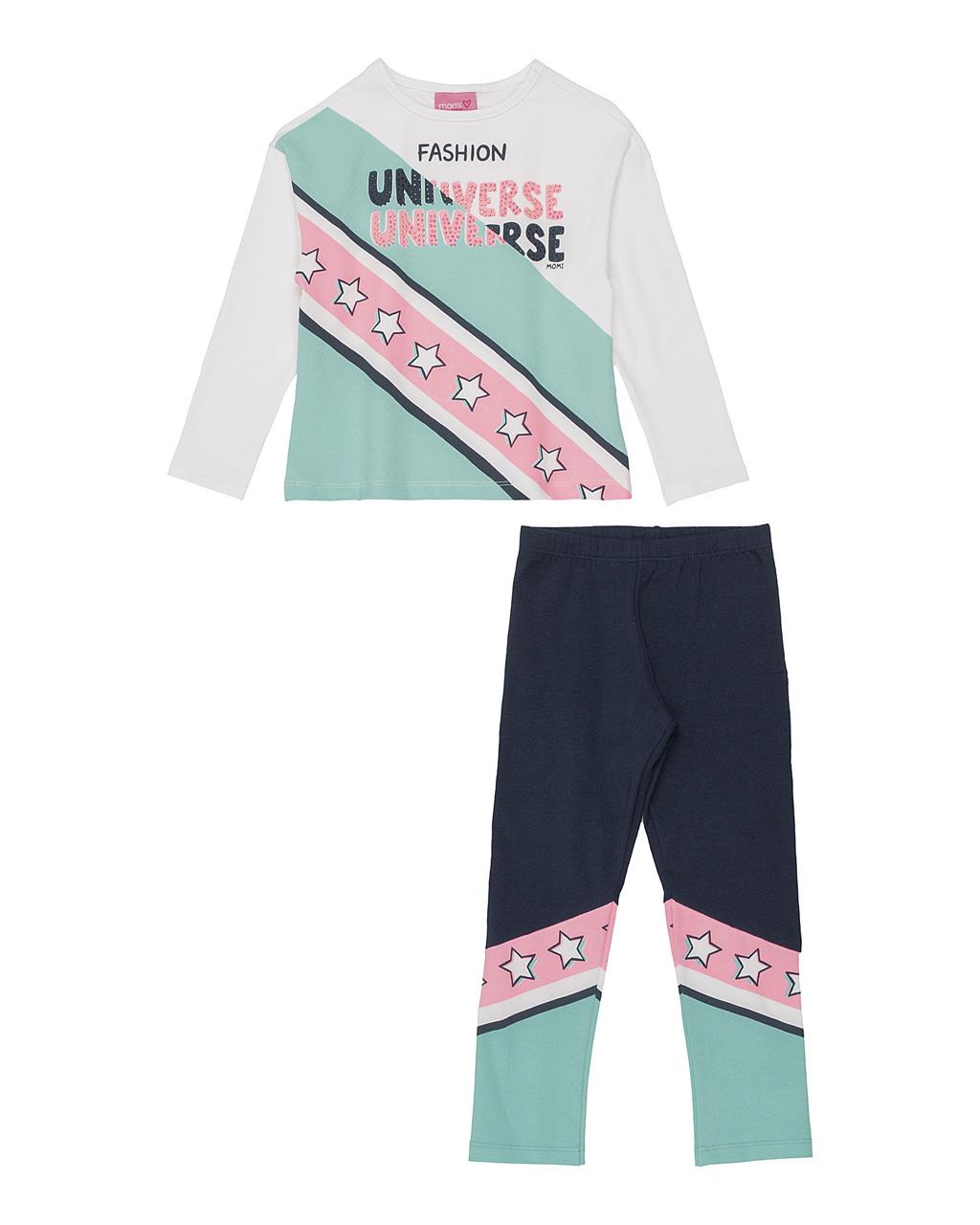 Conjunto Infantil Blusa Manga Longa e Legging Fashion Universe Off White Momi