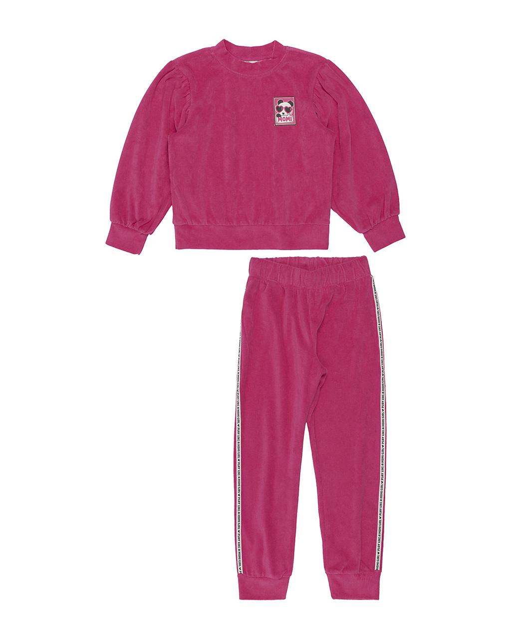 Conjunto Infantil Blusa Moletinho Plush Rosa E Calça Plush Detalhe Lateral Momi