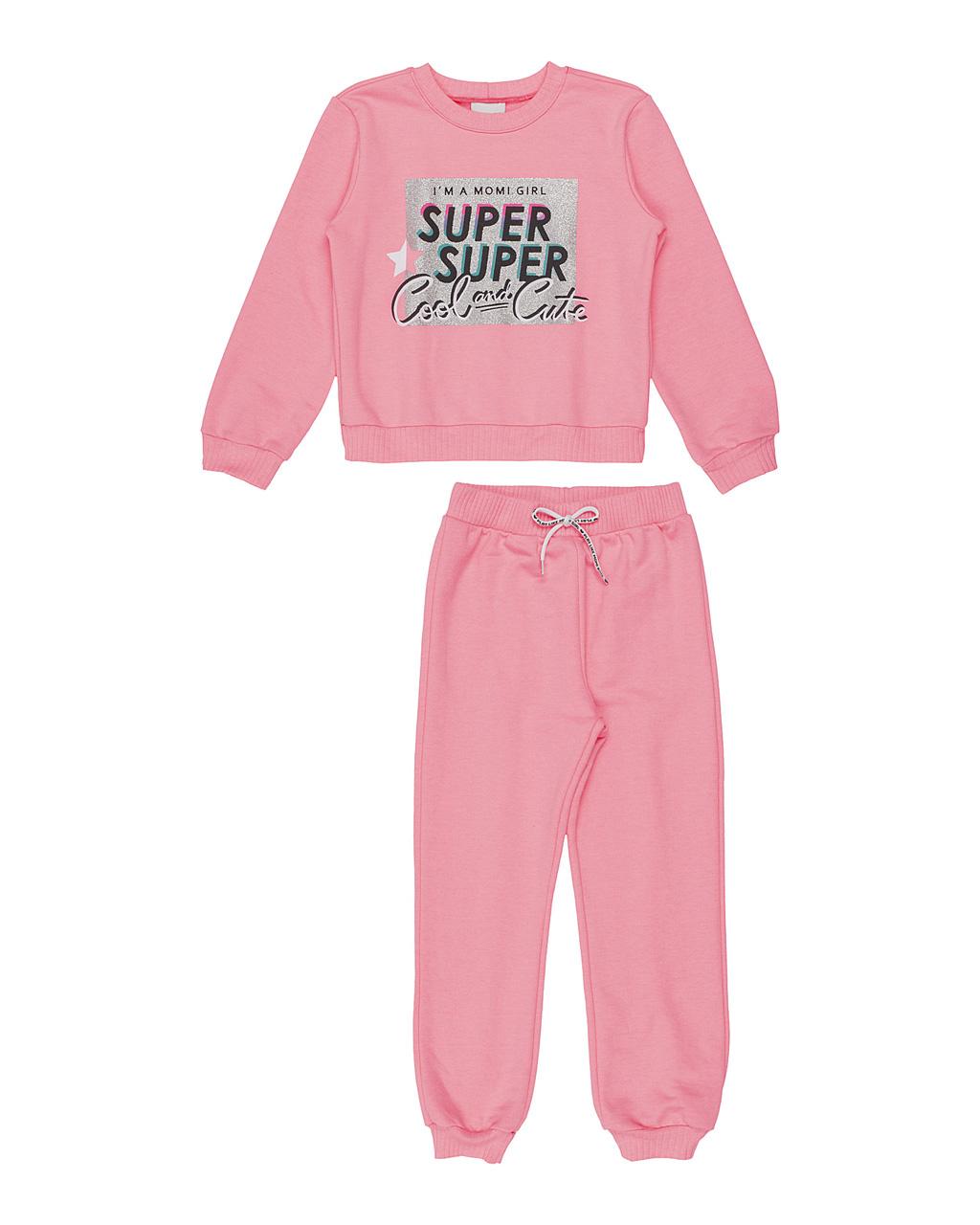 Conjunto Infantil Blusa Moletom Arte Super Cool Neon E Jogger Rosa Neon Momi