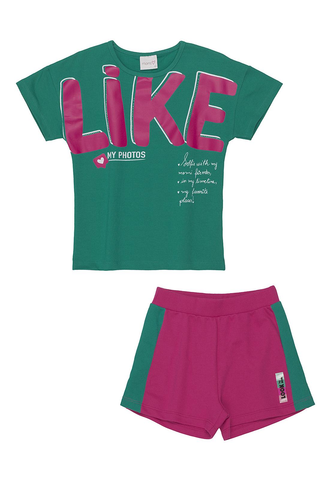 Conjunto Infantil Blusa Moletom Like E Shorts Moletom Rosa E Verde Momi