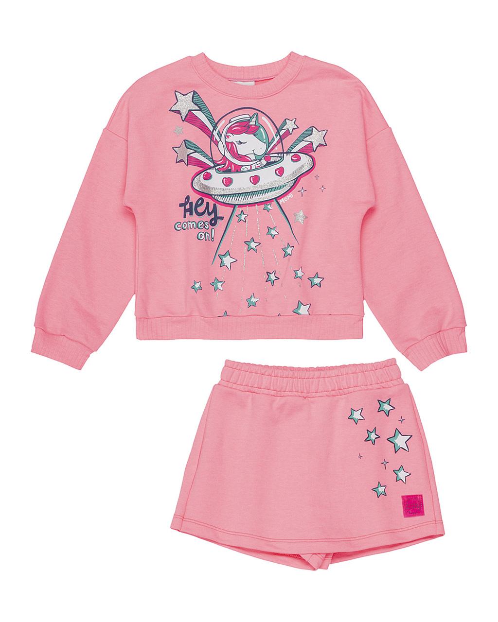 Conjunto Infantil Blusa Moletom Nave Espacil com Shorts Saia Estrelas Neon Momi