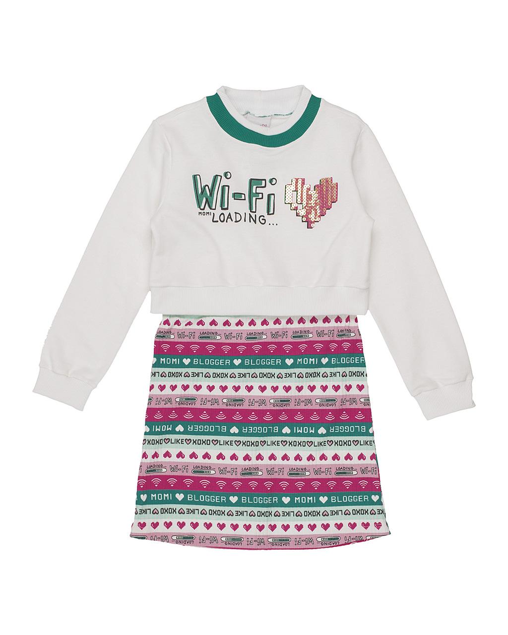 Conjunto Infantil Blusa Moletom Off Wi-Fi E Vestido Listrado Escritas Momi