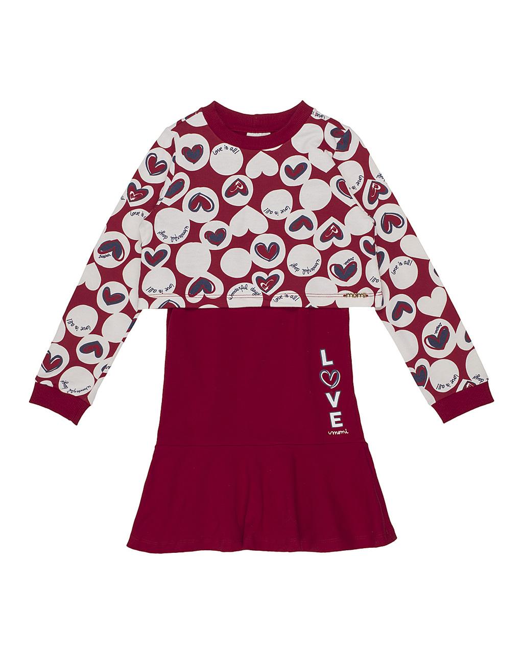 Conjunto Infantil Blusa Moletom Póas Coração E Vestido Vermelho Momi
