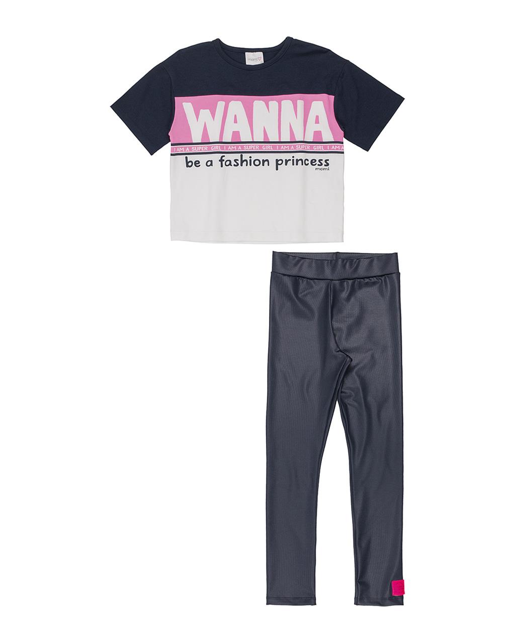 Conjunto Infantil Blusa Moletom Wanna Rosa Neon E Legging Cirrê Azul Momi
