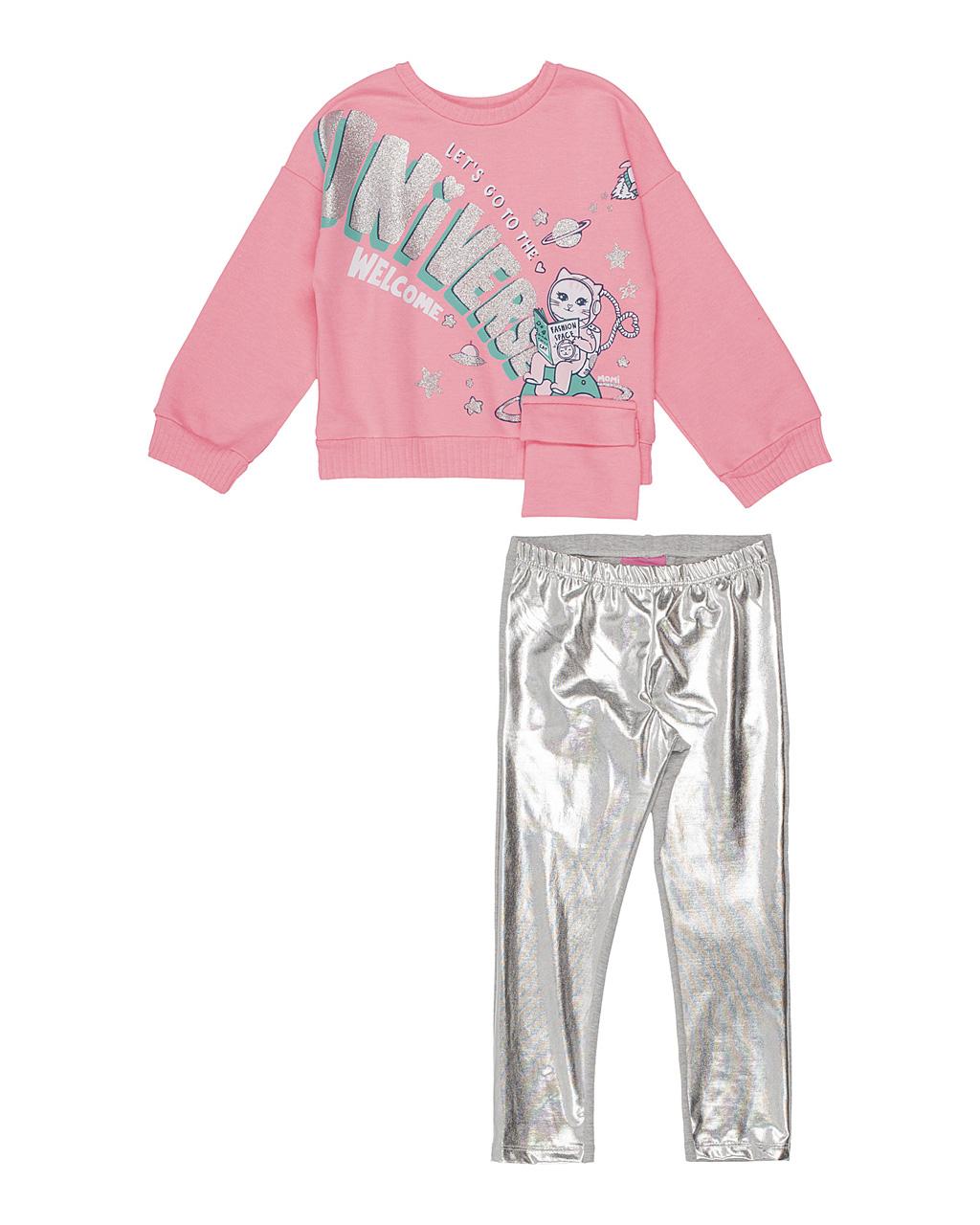 Conjunto Infantil Blusa Moleton Gatinha Espacial com Legging Prata Momi