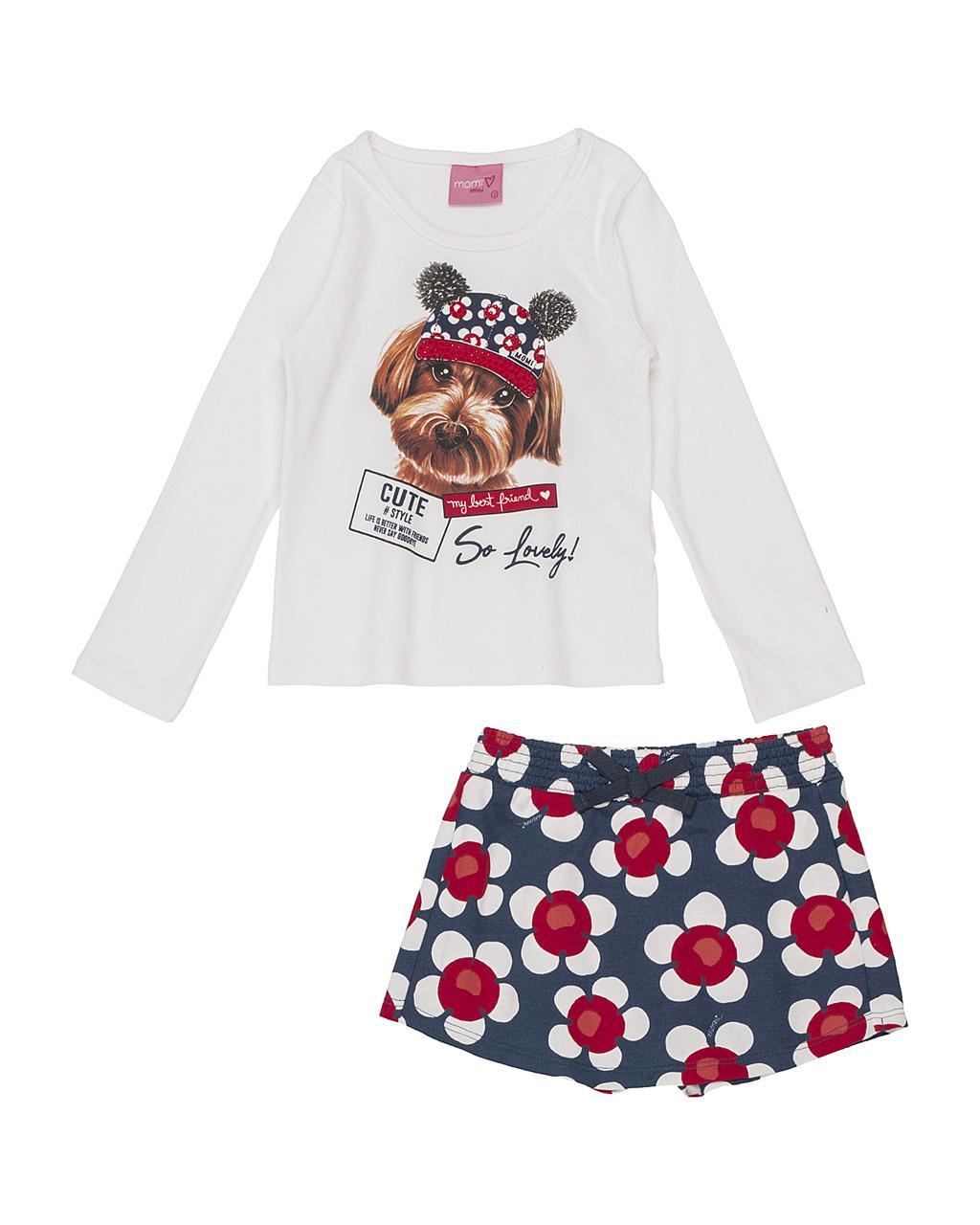 Conjunto Infantil Blusa My Best Friend com Shorts Saia Flores Momi