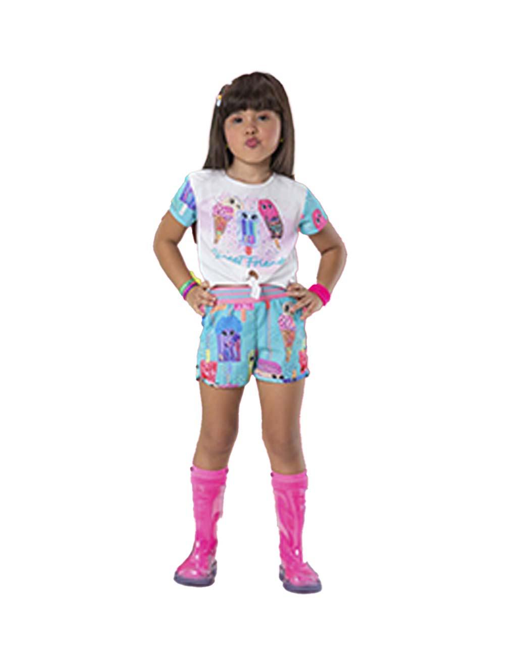 Conjunto Infantil Blusa Nozinho Frontal Soverte Fabuloso com Shorts Málagah