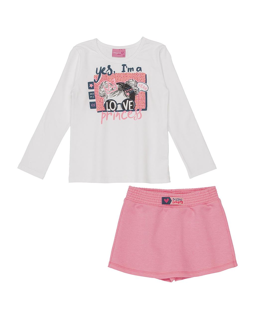 Conjunto Infantil Blusa Princess com Shorts Saia Rosa Neon Momi