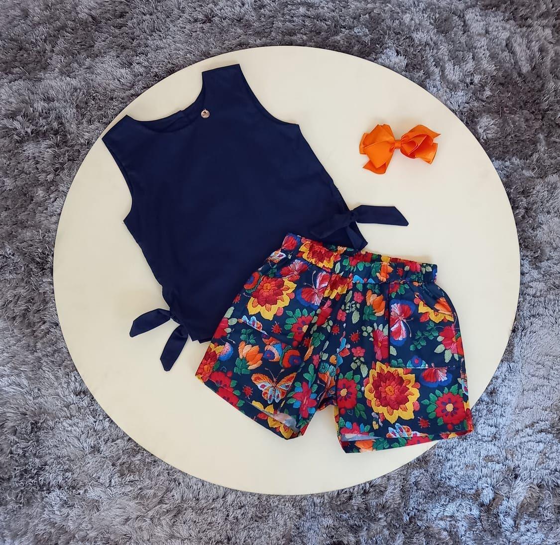 Conjunto Infantil Blusa Regata com Shorts Floral Precoce
