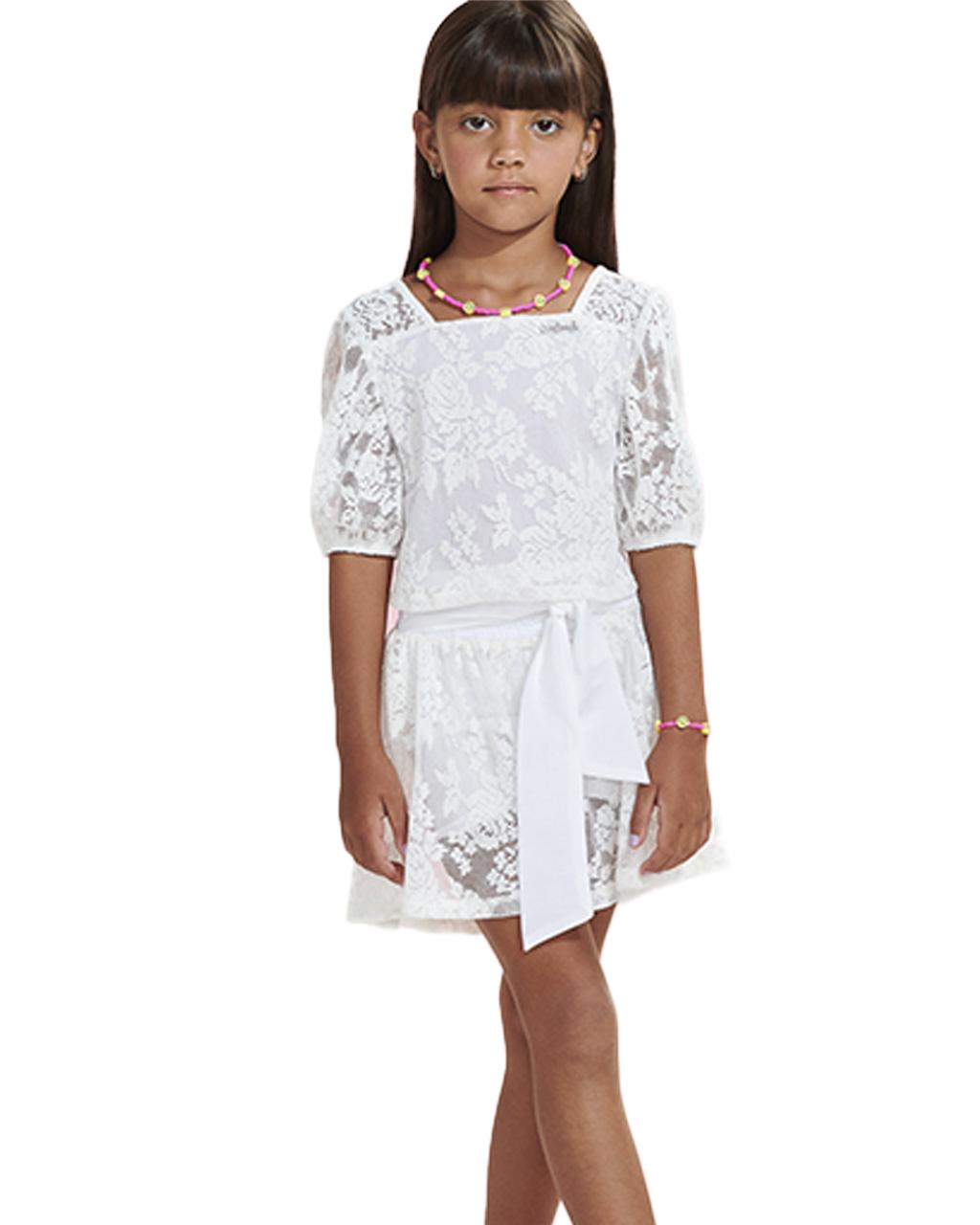 Conjunto Infantil Blusa Renda e Shorts Off White Animê