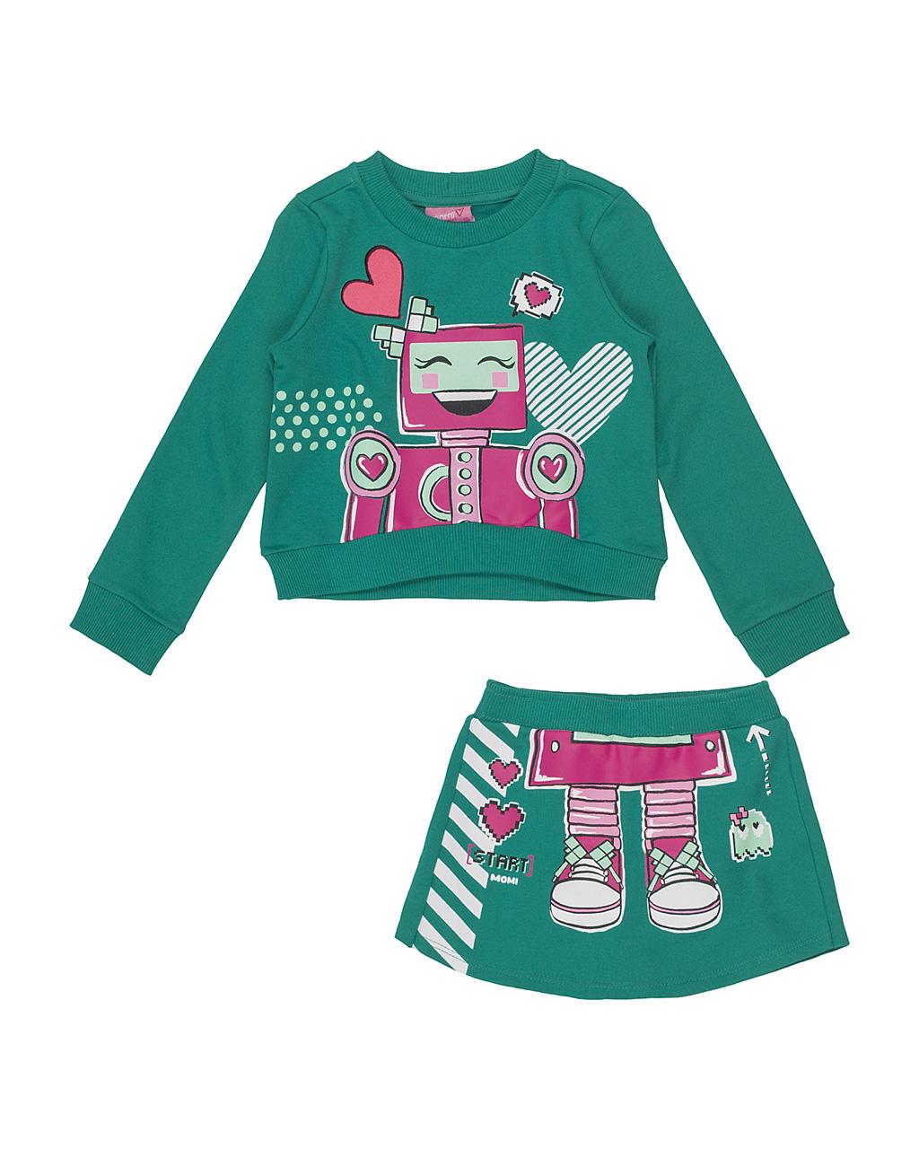Conjunto Infantil Blusa Robozinha com Shorts Saia Moletom Verde Momi