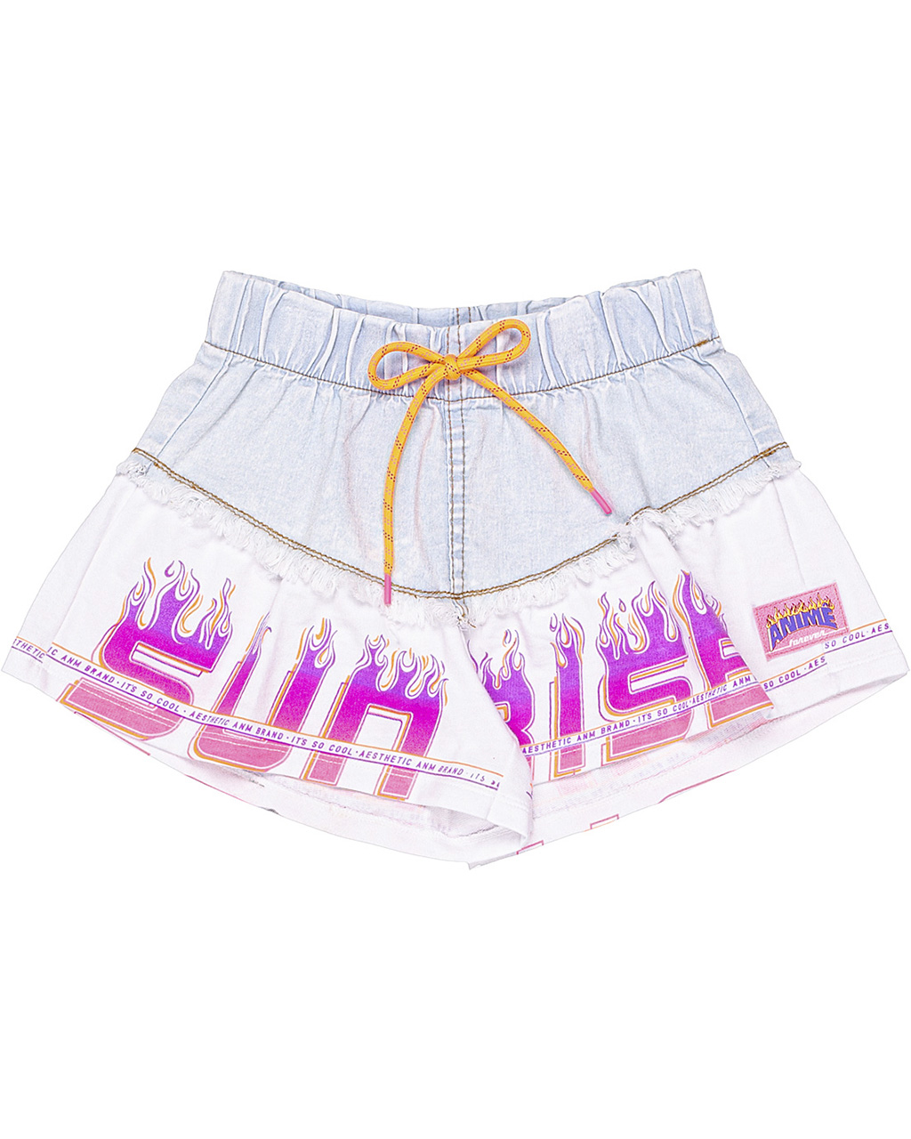 Conjunto Infantil Blusa Sobreposição e Shorts Jeans com Moletom Animê