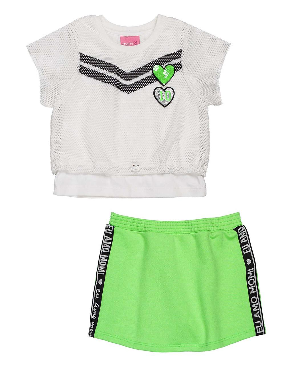Conjunto Infantil Blusa Sobreposição Tela com Shorts Saia Verde Neon