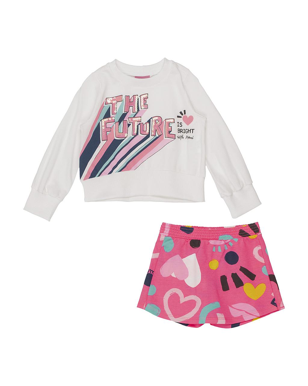 Conjunto Infantil Blusa The Future Off E Shorts Saia Manchinhas Rosa Momi