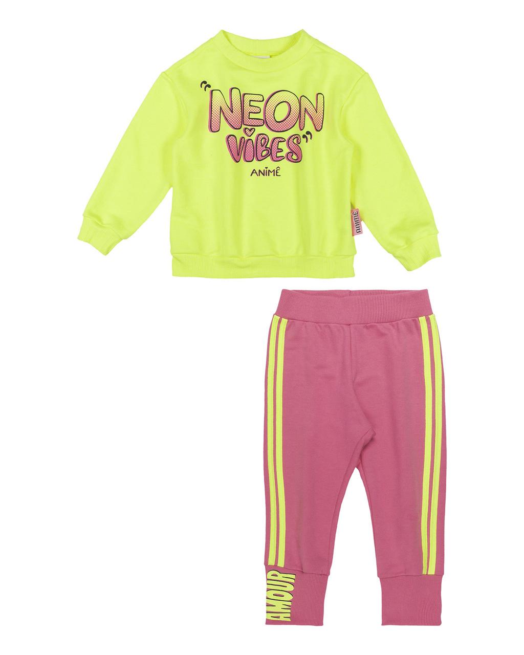 Conjunto Infantil Blusão Moletom Amarelo Neon e Calça Jogging Moletom Animê