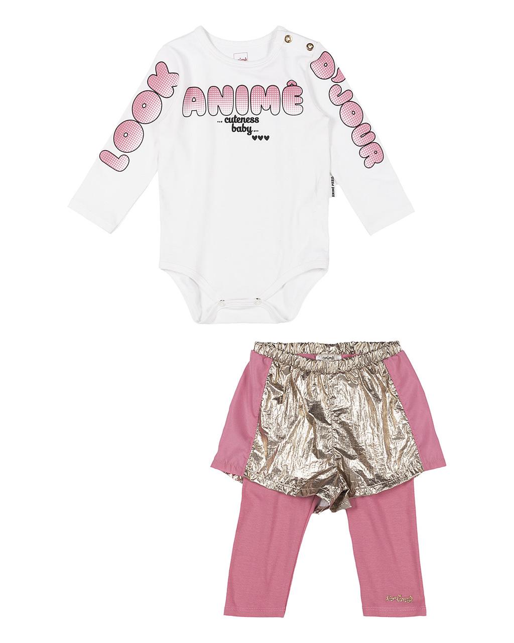 Conjunto Infantil Body e Short com Legging Embutida Corta Vento Detalhe Plastic Dourado Animê