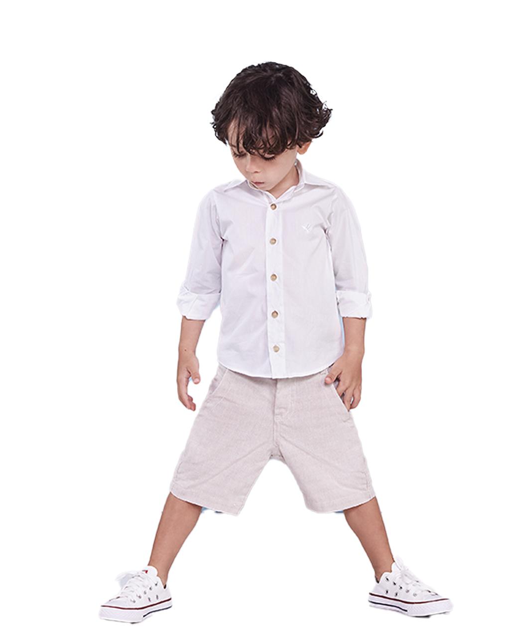Conjunto Infantil Camisa Branca com Bermuda Social Caqui Precoce