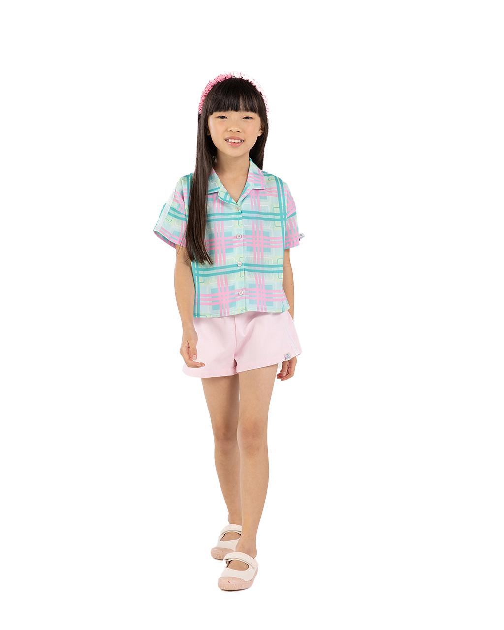 Conjunto Infantil Camisa e Shorts Xadrez Um Mais Um