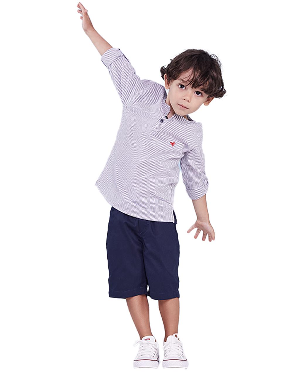 Conjunto Infantil Camisa Listrada com Shorts Azul Marinho Precoce