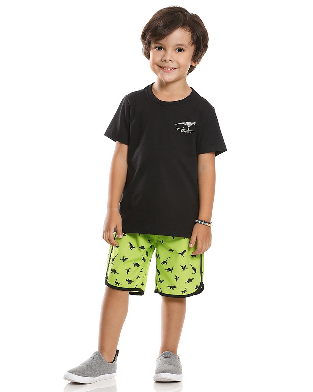 Conjunto Infantil Camiseta e Bermuda Dino Banana Danger