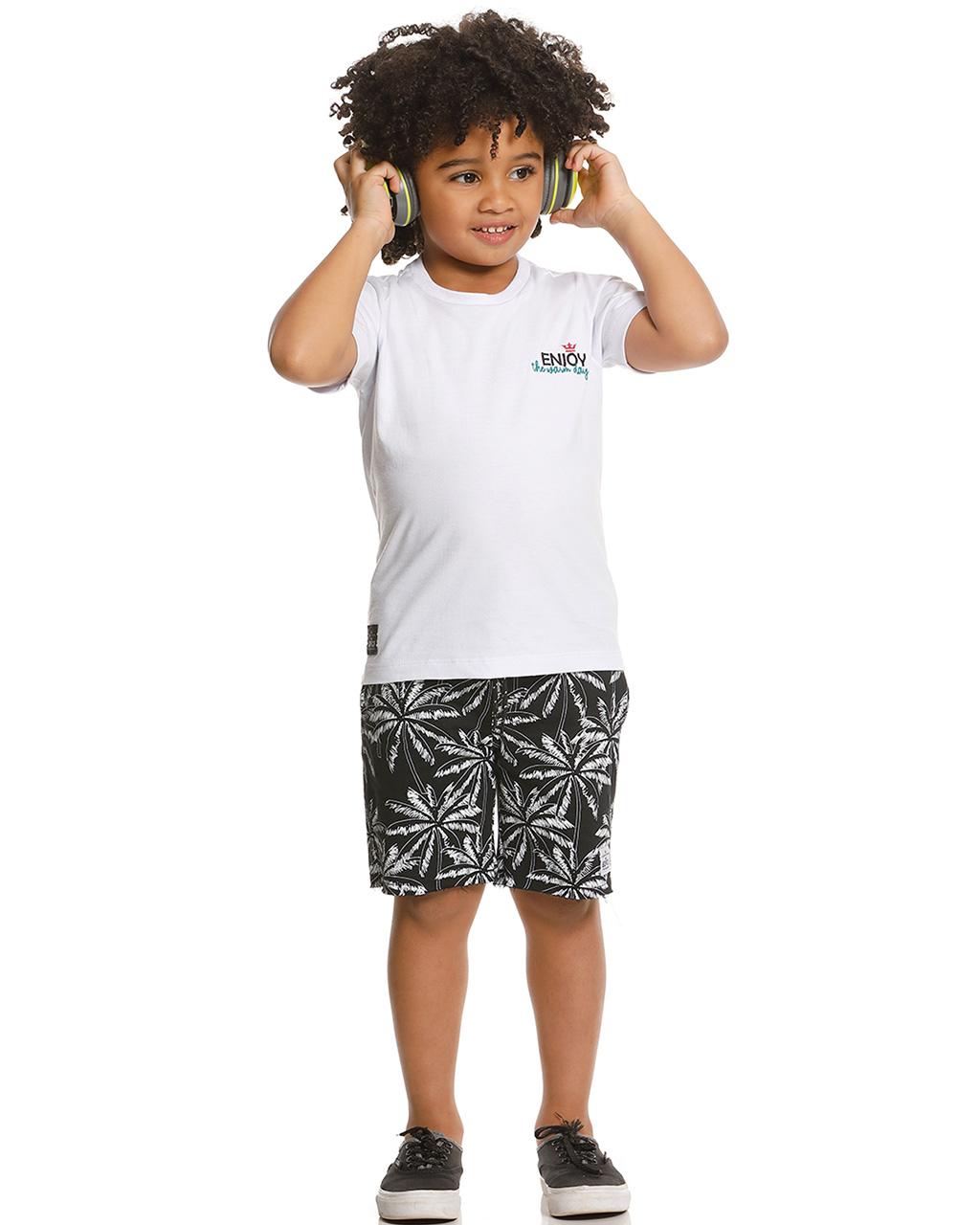 Conjunto Infantil Camiseta e Bermuda Enjoy Banana Danger
