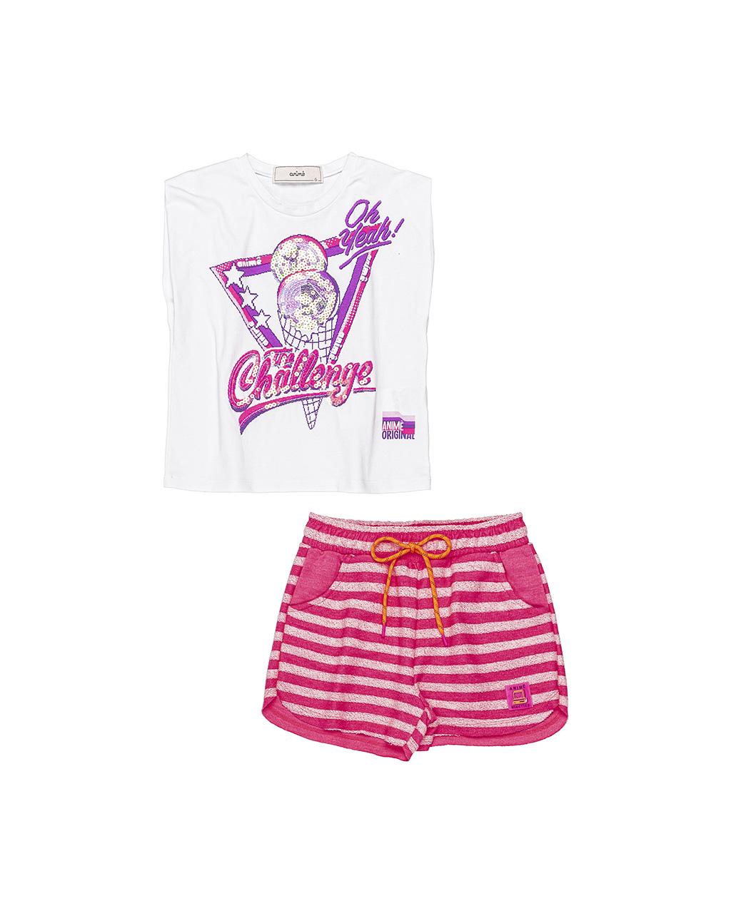 Conjunto Infantil Camiseta Muscle e Shorts Moletom Animê