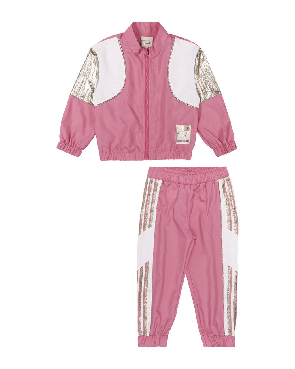 Conjunto Infantil Casaco e Calça Corta Vento Rosa Chiclete Detalhes Plastic Dourado Animê