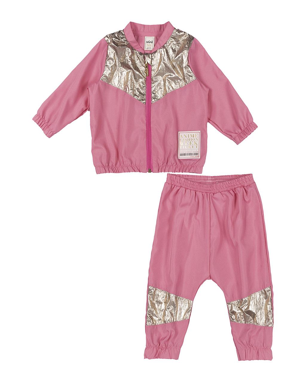 Conjunto Infantil Casaco e Calça Corta Vento Rosa Recorte Dourado Animê