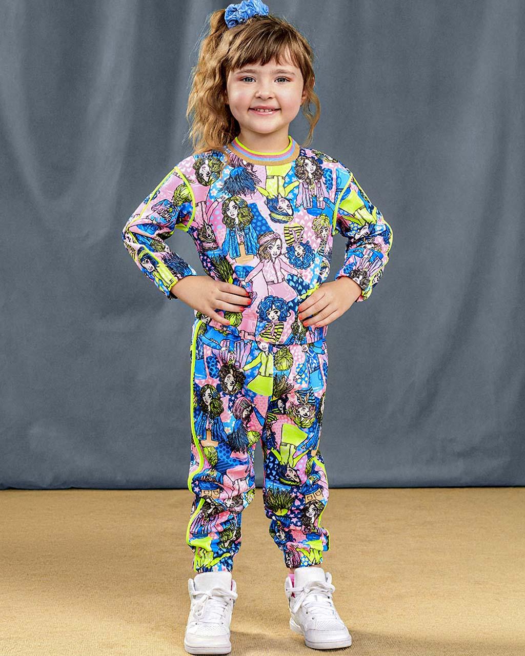 Conjunto Infantil Casaco Neoprene Rotativo Bonecas e Calça Rotativo Bonecas Animê