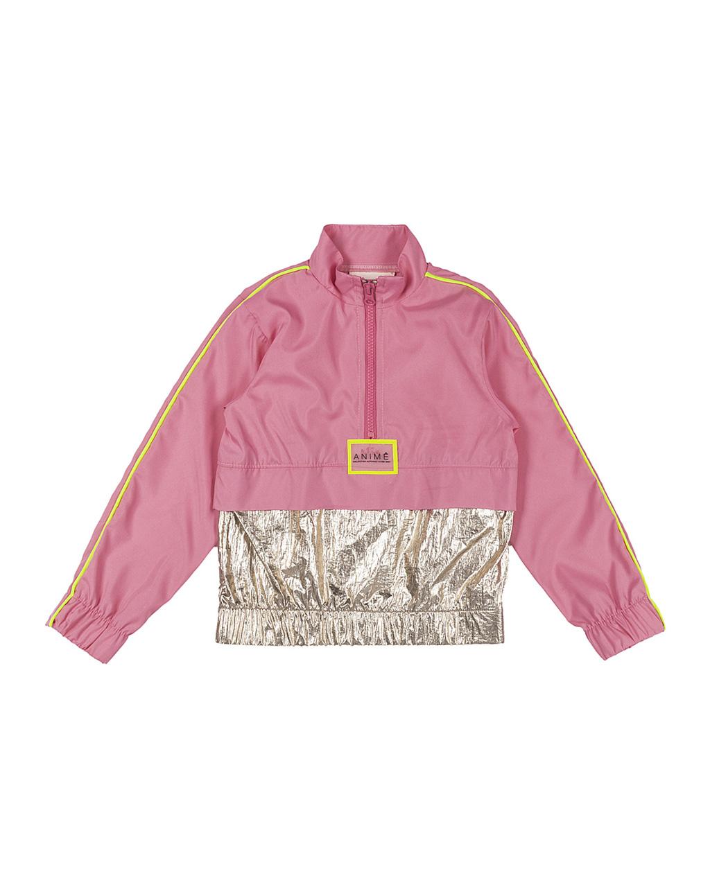 Conjunto Infantil Corta Vento Rosa Detalhe Plastic Dourado Animê