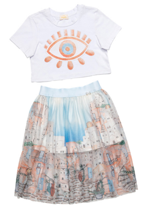 Conjunto Infantil Cropped com Aplique Olho Grego e Saia Midi Tela Luluzinha
