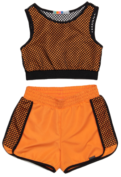 Conjunto Infantil Cropped de Tela e Short Boxer com Recortes e Vies Laranja Mylu