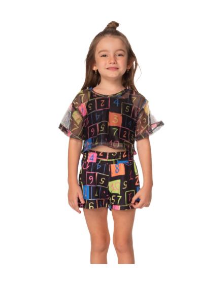 Conjunto Infantil Cropped de Tule com Top e Short Números Mylu