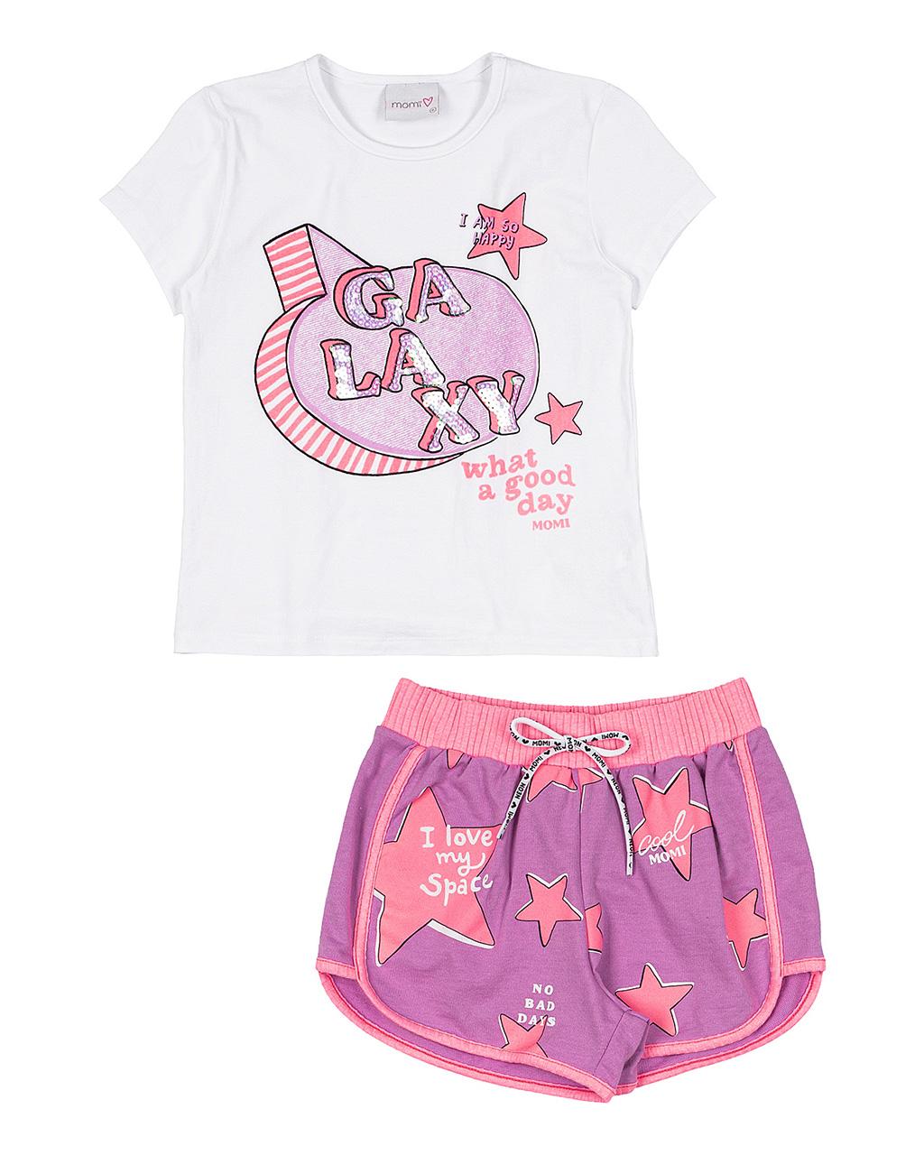 Conjunto Infantil Galaxy Blusa e Shorts Momi