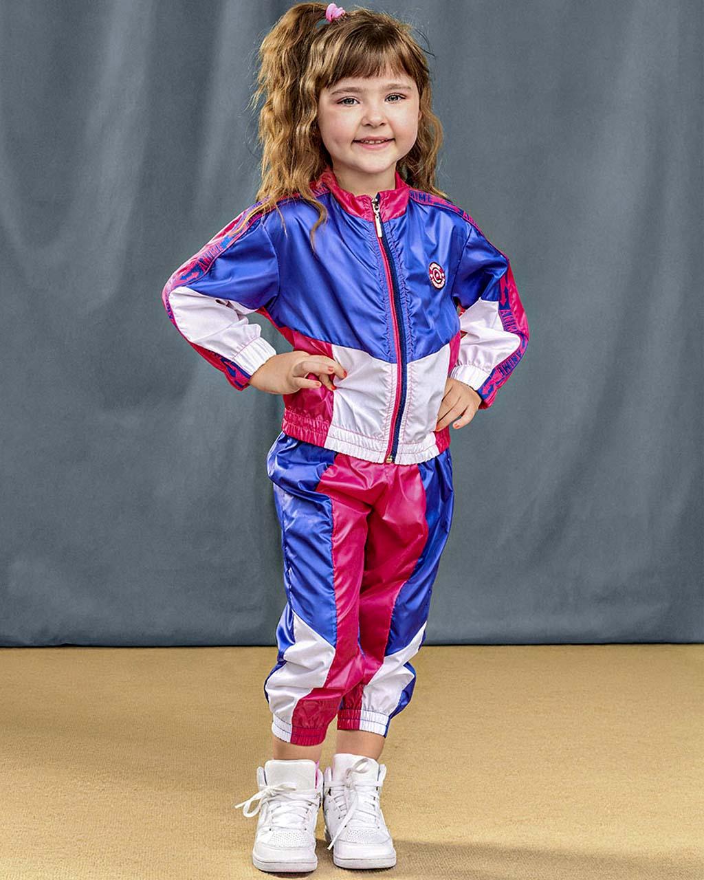 Conjunto Infantil  Jaqueta e Calça Corta Vento com Recortes Pink e Azul Animê