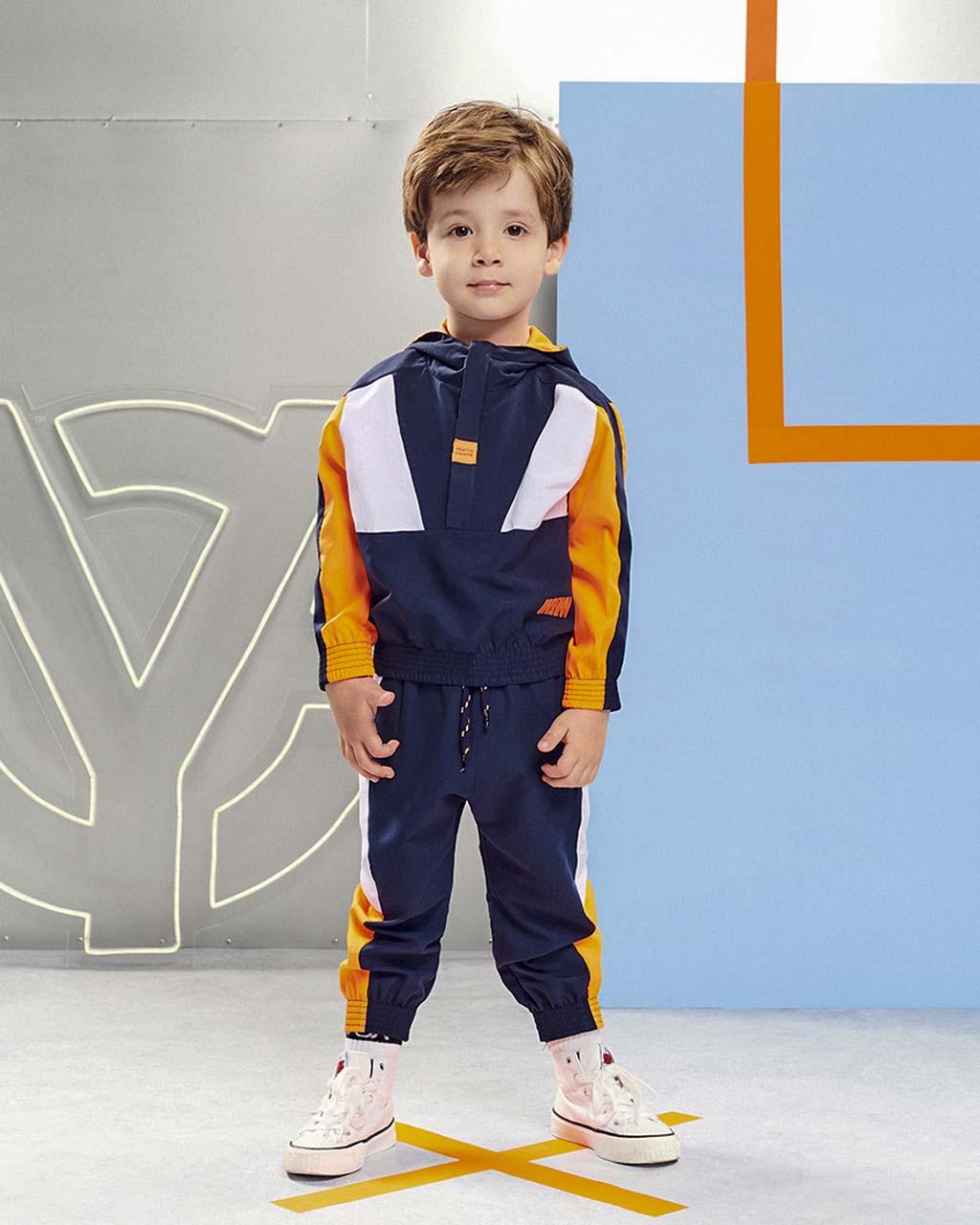 Conjunto Infantil Jaqueta e Calça Marinho com Recortes Off e Laranja Neon Youccie