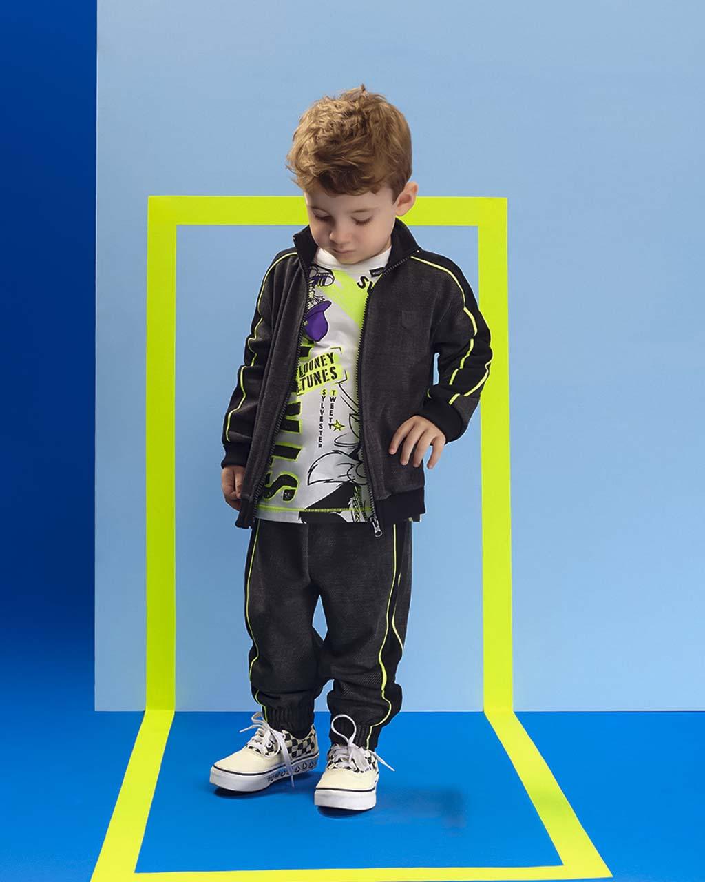 Conjunto Infantil Jaqueta E Calça Moletinho Com Detalhes Neon Youccie