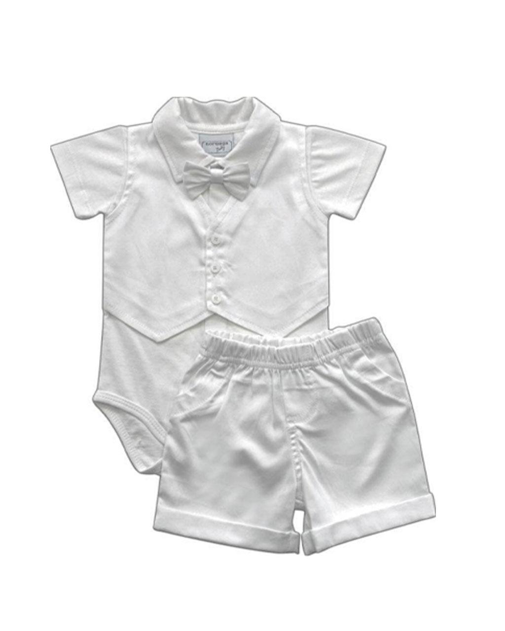 Conjunto Infantil Masculino Batizado Body com Colete e Calça Noruega