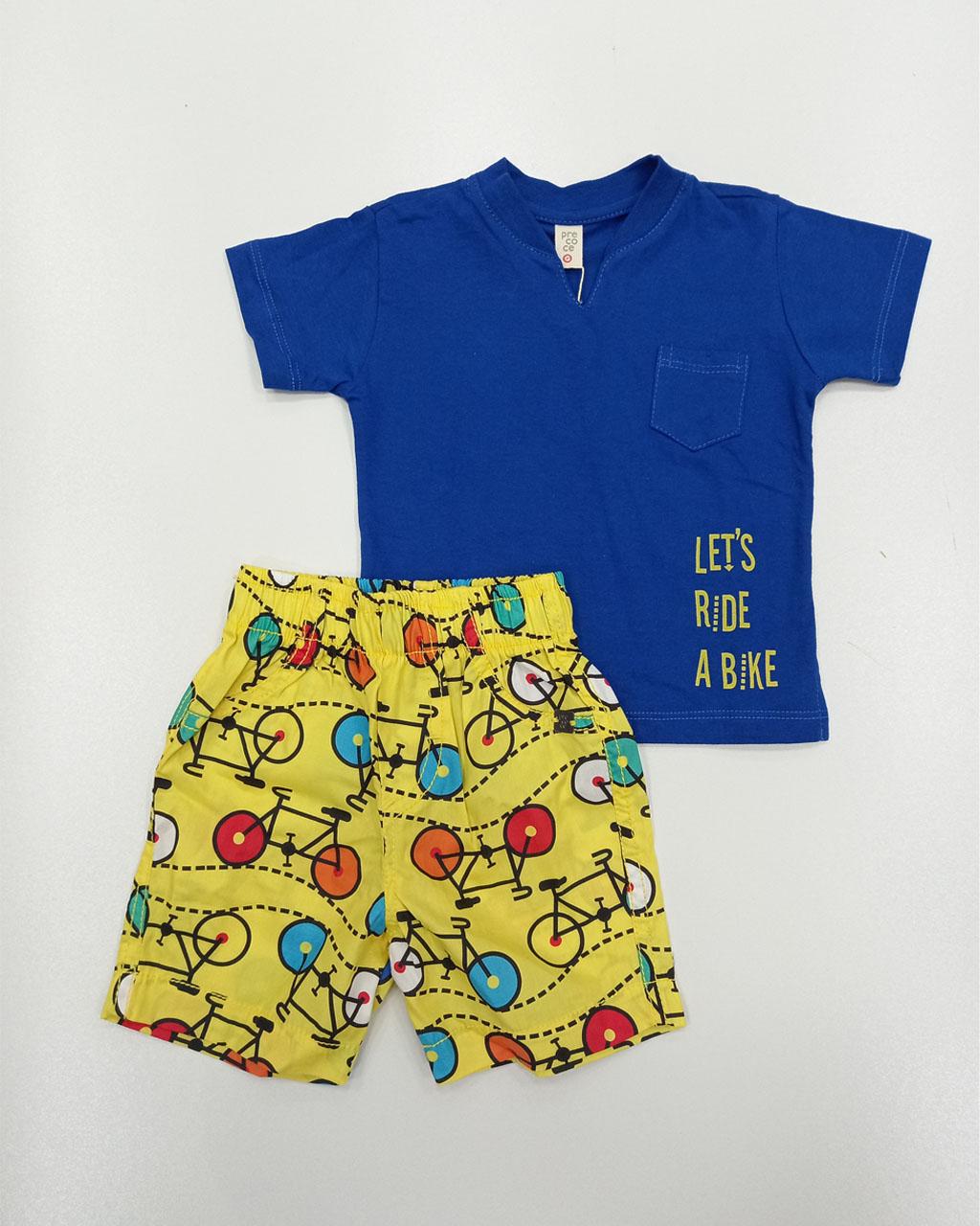 Conjunto Infantil Masculino Blusa Azul com Shorts de Bicicleta Precoce