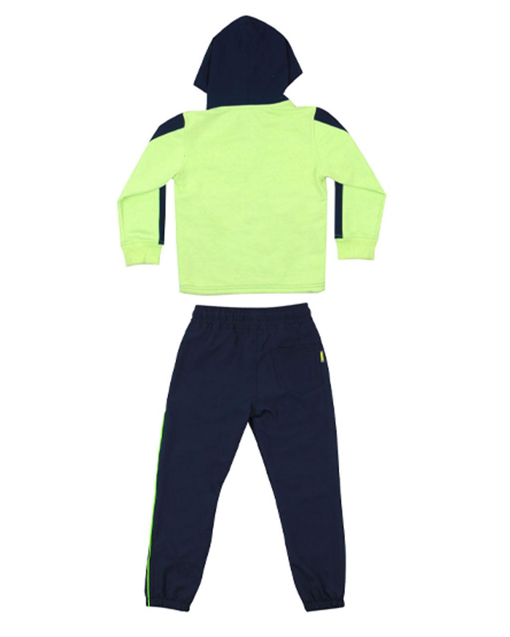 Conjunto Infantil Masculino Blusa Moleton Neon Music com Calça Azul Banana Danger