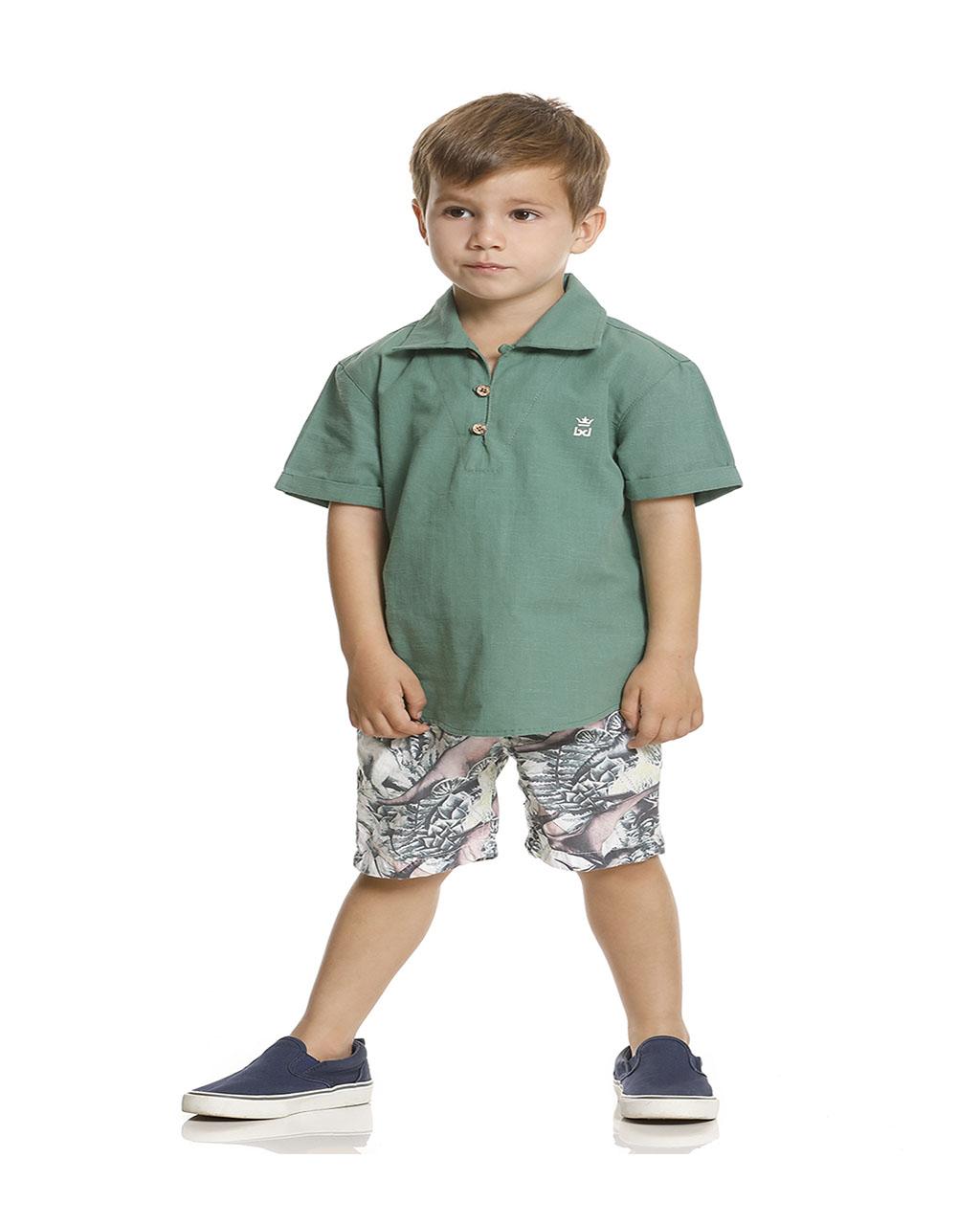 Conjunto Infantil Masculino Camisa com Gola Verde Banana Danger