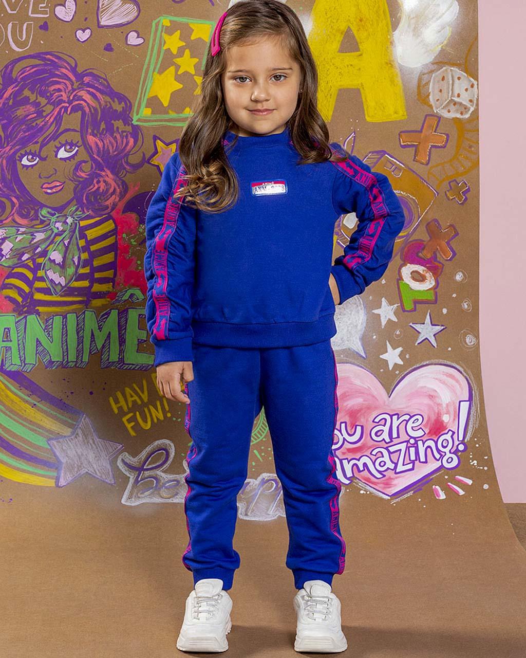 Conjunto Infantil Moletom Azul Royal Animê