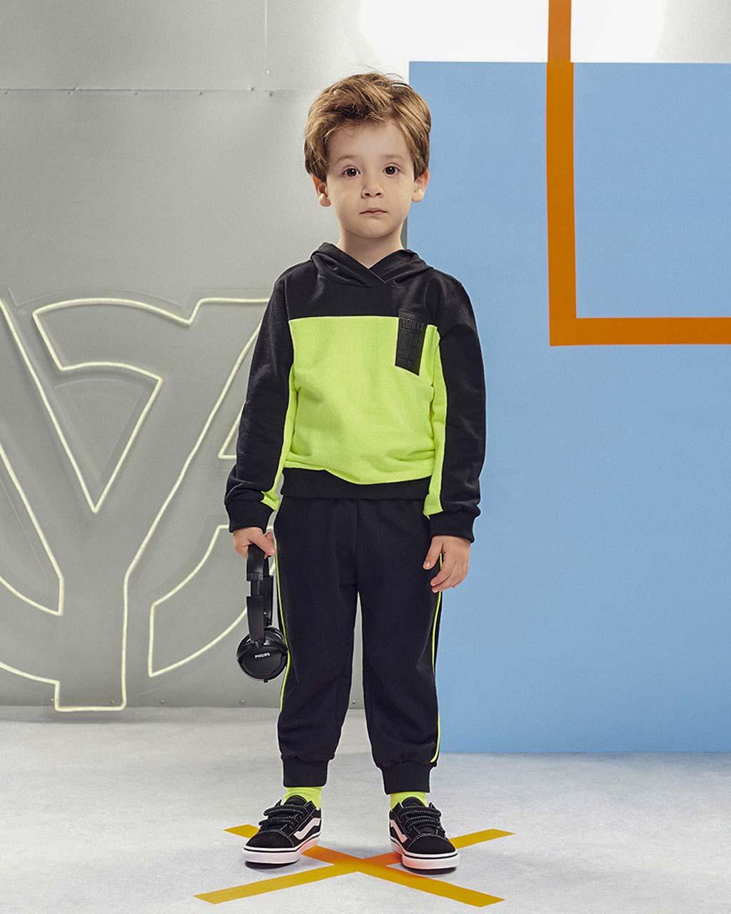 Conjunto Infantil Moletom Blusa e Calça Preto com Amarelo Neon Youccie